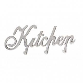 Kapstok Kitchen Een leuke kitchen tekst aan de muur in de keuken. Heeft 3 haakjes om van alles aan op te hangen. 45X4X19 CM