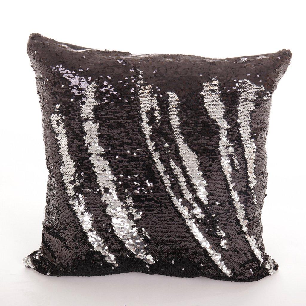 Pailletten Kussen zwart/zilver