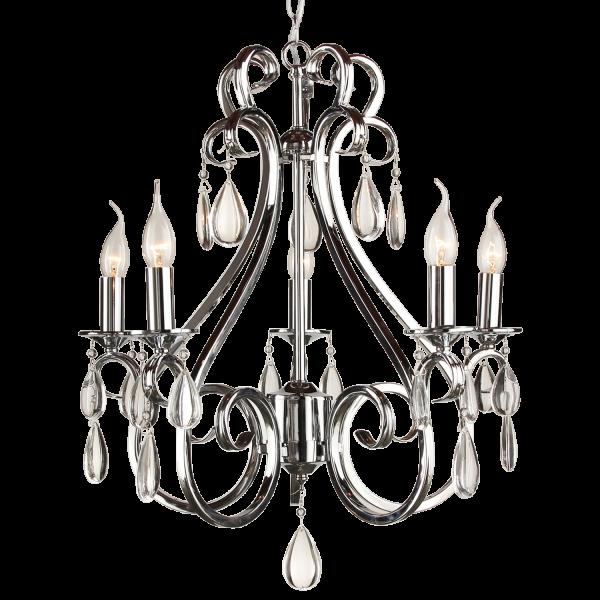 Hanglamp kristal nikkel 5 lampen