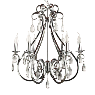 Hanglamp kristal nikkel 6 lampen