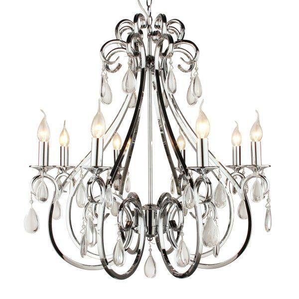 Hanglamp kristal nikkel 8 lampen