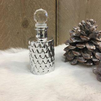 Decoratie flesje zilver 13cm