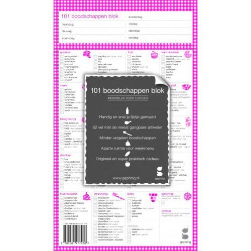 101 boodschappen blok roze