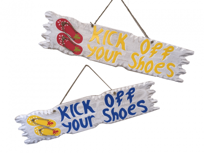 Tekstbord Kick of your shoes GEEL