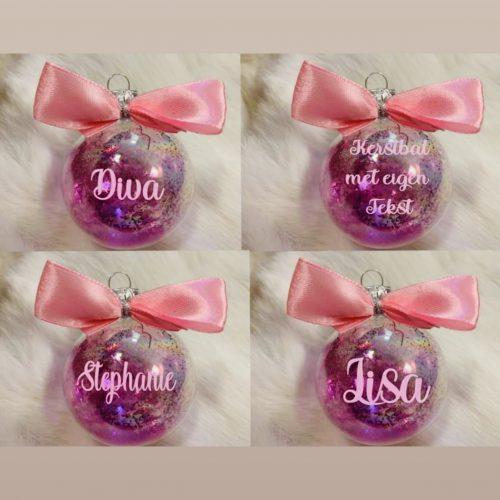 Kerstbal glitter Naam roze