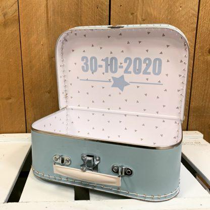 Koffer Blauw eigen tekst aan de binnenkant