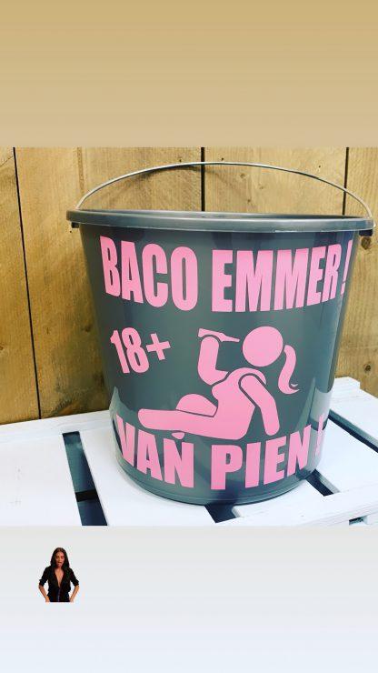 Baco vrouw roze tekst